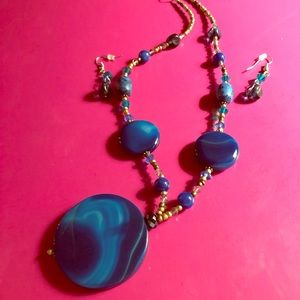 Jewelry - NWOT - Royal Blue & Copper Necklace & Earrings Set